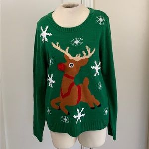 Fabulous Rudolph Ugly Christmas Sweater snowflakes